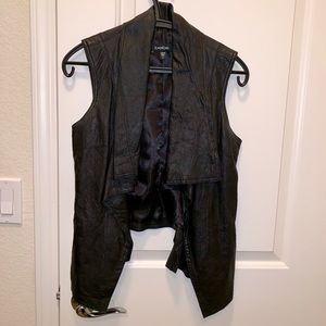 bebe Black Leather Vest